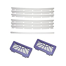 SHP-ZONE 2 HEPA Filters + 6 compatible Blades and 1 Squeegee Replacement For Neato xv-11 xv-12 xv-14 xv-15 xv-21 XV Signature Pro