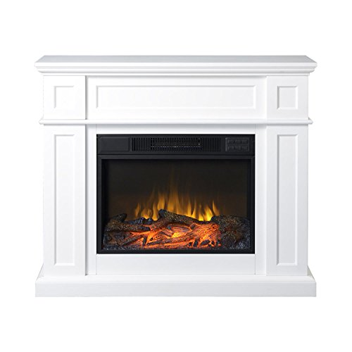 Homestar Cumbria 42 in. Wide Electric Fireplace Mantel in White ()