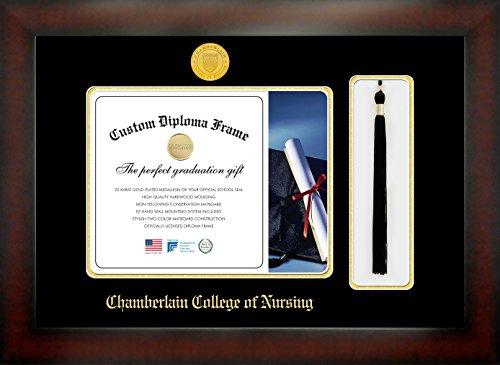 Chamberlain College of Nursing 8½ x 11 Mahogany Finish Infinity Diploma Frame with Tassel Box by Celebration Frames