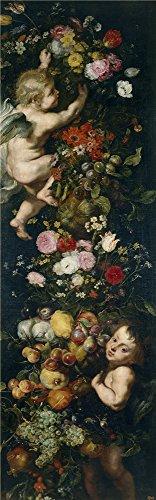 Rubens Peter Paul (ワークショップ) Brueghel the Elder Jan Snyders Frans Feston de flores y frutas y angelotes CA。1620`油絵、30x 96インチ/ 76x 245CM、ポリエステルキャンバスにプリント、この美しいアート装飾プリントキャンバスは、地下室のアートワークとホームとギフトにピッタリの商品画像