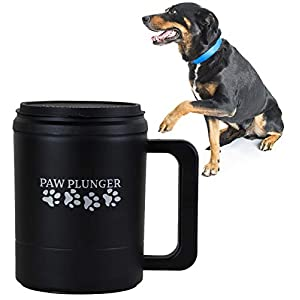 Paw Plunger for Dogs – Portable Dirty Paw Washer for Large Sized Dogs – Ideal for Dogs Over 75lbs – Cleaner Pet Paws to Save Floors/Furniture / Carpet/Vehicle from Muddy Paw Prints – Black