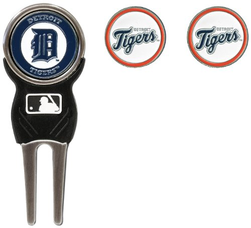 Team Golf MLB Detroit Tigers Divot Tool with 3 Golf Ball Markers Pack, Markers are Removable Magnetic Double-Sided Enamel