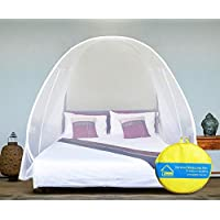 VERDIOZ Mosquito Net Foldable Double Bed | King Size | Queen Size for Baby | Kids | Adult, 100% Ventilation | Visibility with Free Saviours