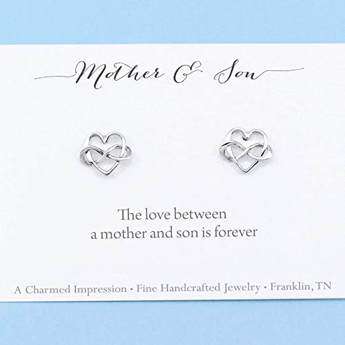 Mom Gift • Mother and Son • Infinity Heart Earrings • Sterling Silver Jewelry • Infinite Love