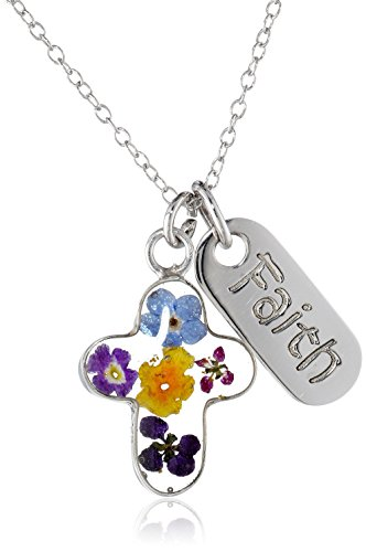Sterling Silver Pressed Flower Cross and Faith Tag Pendant Necklace, 18