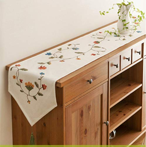 US-ROGEWIN Table Runners Beautiful Refined Vintage Style Handmade Embroidered Concise White Bed Flag Durable -