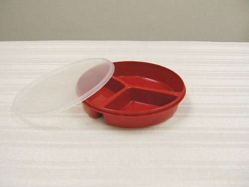 Scoop Dish Partitioned w/Lid Redware by Marble Medical