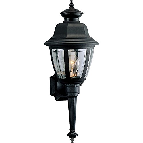 738-31 Wall Torch with Clear Beveled Acrylic Panels, Black (Progress Wall Torch)