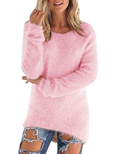 Mohair Blend Sweater (Women Winter Pullover Jumper Knitwear Fluffy Mohair Blend Knitted Sweater Tops)