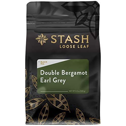 Stash Tea Double Bergamot Earl Grey Loose Leaf Tea 3.5 Ounce Pouch Loose Leaf Premium Black Tea for Use with Tea Infusers Tea Strainers or Teapots, Drink Hot or Iced, Sweetened or Plain