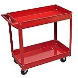 vidaXL Rolling 2 Tray Utility Cart Dolly 220lbs Storage Shelves Workshop Garage Tool