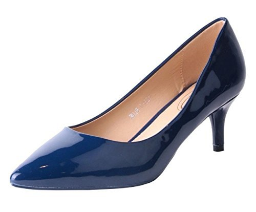 SHU CRAZY Womens Ladies Faux Patent Leather Kitten Heel Pointed Toe Fashion Pumps Court Shoes - K57 Blue