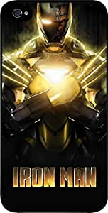 Iron Man -Gold -Hard Black Plastic Snap - On Case with Soft Black Rubber Lining-Apple Iphone 5C ONLY- Great Quality!