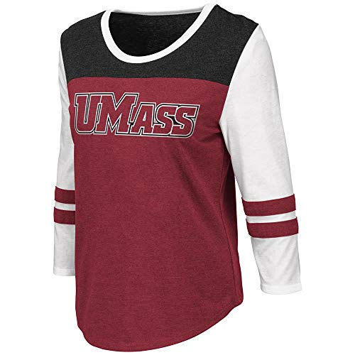Colosseum Womens UMass Massachusetts Minutemen Palermo 3/4 Sleeve Tee Shirt - L