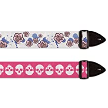 Guitar Straps - Pink Skulls and Flowers - 2-Pack