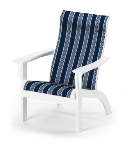 Telescope Casual Adirondack MGP Sling Chair, Textured Snow Finish with Night Stripe Sling Fabric