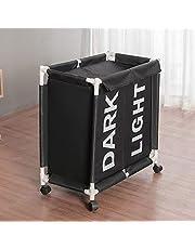 GRX-STORA Tvättkorg med hjul med lock, hopfällbar Oxford-klädkorg, 2 fack vattentät korg för tvätt, hushållsartiklar, vardagsrum, badrumsförvaringskorg, svart