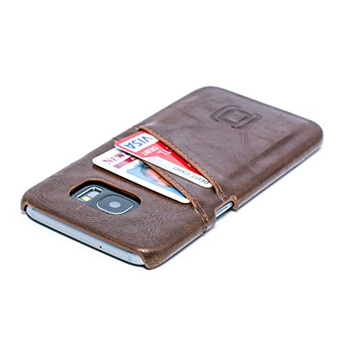 Dockem Card Case for Samsung Galaxy S7 Edge - Vintage Synthetic Leather Wallet Case, Ultra Slim Professional Executive Snap On Cover with 2 Card Holder Slots, Brown