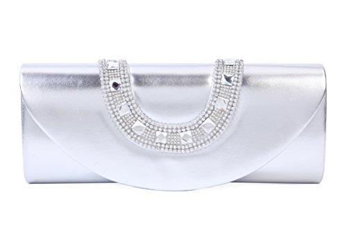 Damara Damara Women Large Silver Luxury Women Evening Bags Leather Faux pqawZqd