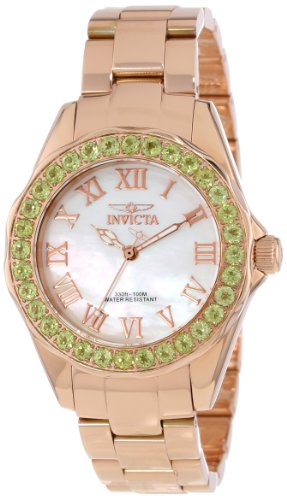 Invicta Women's 14150 Angel Mother-Of-Pearl Dial Peridot Accented 18k Rose Gold Ion-Plated Stainless Steel Watch