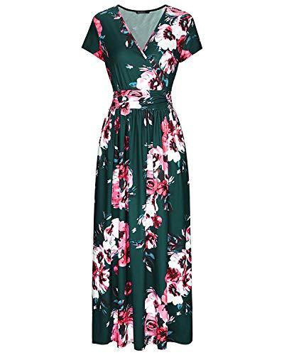 Floral Pattern Dress - OUGES Women's V-Neck Pattern Pocket Maxi Long Dress(Floral-17,3XL)