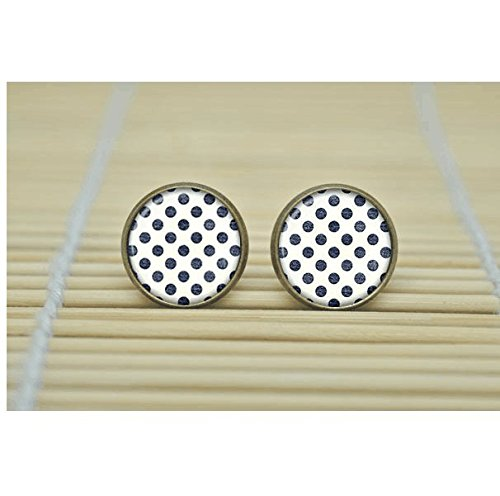 Vintage Creations Vintage Earrings (Retro Polka dot Earrings sign Earrings glass Cabochon Earrings)