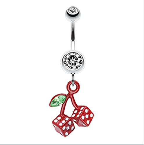 Cherry Dice - Vibrant Cherry Dice 316L Surgical Steel Freedom Fashion Belly Button Ring (Sold by Piece) (14GA, 3/8