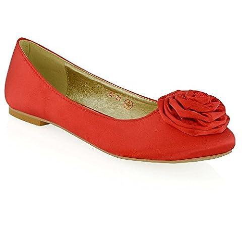 Essex Glam Women's Flat Slip On Flower Detail Red Satin Bridal Ballerina Pumps 5 B(M) US