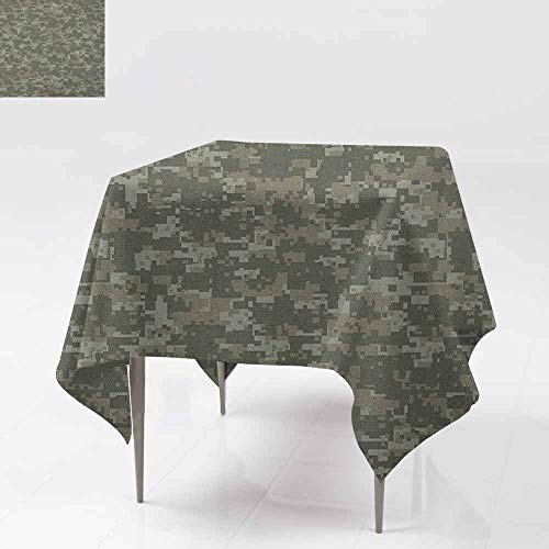 Sage Folding Picnic Table - Waterproof Table Cover,Camouflage,Monochrome Attire Pattern Concealing Hiding in The Woods Themed Print,Dinner Picnic Table Cloth Home Decoration,70x70 Inch Army Green Sage Green