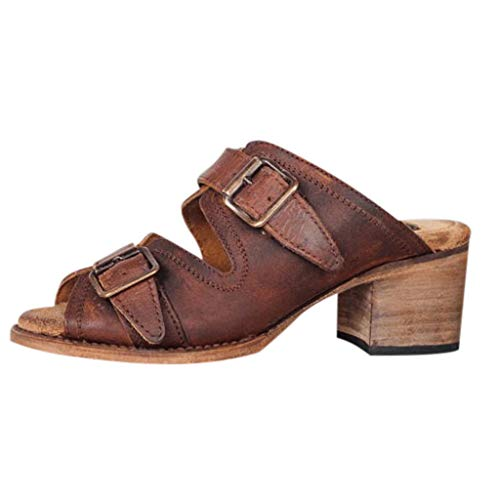 Nadition Ladies Classical Roman Shoes Women's Pointed Square High Heel Belt Buckle Sandal Fashion Print Slipper Brown (Studded Open Leather Belt Metal)
