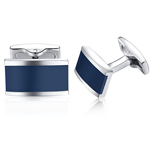 (Honey Bear Cufflinks for Men - Shirt Black Rectangle Stainless Steel Business Wedding Gift (Dark Blue) )