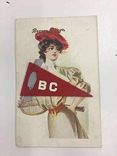 Beaver Pennsylvania College Lady Felt Pennant Flag Antique Postcard K105780