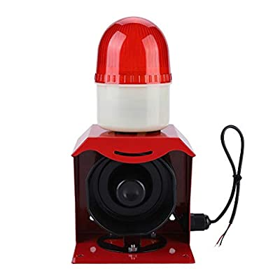 10W 110dB Mini Siren Alarm 12V/24V High Sound Electric Horn with High-frequency Flashing Light,Sound and Visual Alarm for Home Security Alarm System