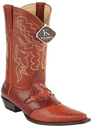 Womens Knip Teen Lederen Zadel Teju Skin Western Boots Cognac