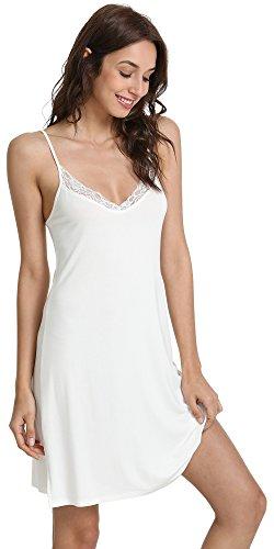 GYS Women's Sleep Chemise Laced V Neck Full Slip, White, - White Slip Full