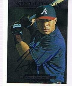 (DAMON HOLLLINS 1995 UPPER DECK SPECIAL EDITION # 13 AUTOGRAPHED CARD . BRAVES)