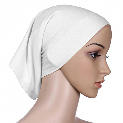 Islamic Light Cotton Solid Color Elastic Hat Baldness Tube Caps Cook Clean Head Wrap (White)