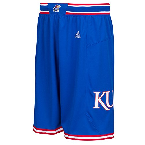 College Basketball Mesh Shorts - adidas NCAA Kansas Jayhawks Men's Premier Basketball Shorts, Small, Blue