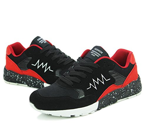WZG zapatos de malla transpirable zapatillas de deporte de los hombres jóvenes estudiantes de los zapatos ocasionales de los hombres black red