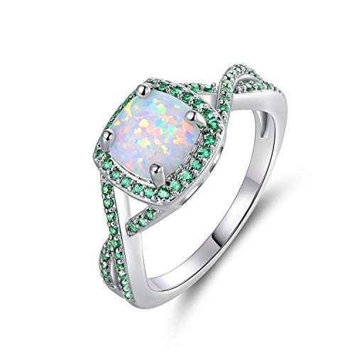 - Barzel White Gold Plated Created Opal & Created Gemstone Ring (Silver with Green, 10)