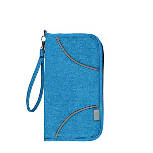 Travel Document Wallet With Hand Strap (Blue) - 5