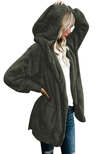 Yanekop Womens Winter Open Front Loose Hooded Fleece Sherpa Jacket Cardigan Coat(Army Green,2XL)