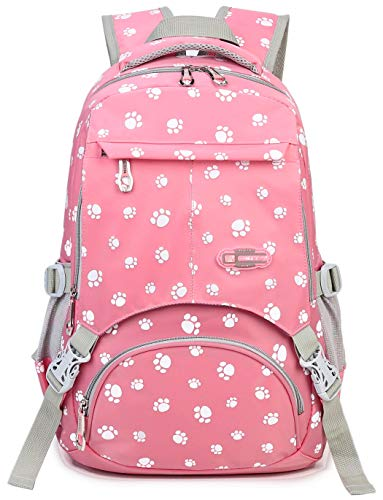 Girls School Bags for Kids Elementary School Backpack Girly Bookbags for Child (Pink)