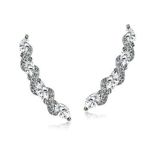 Sterling Silver Created White Sapphire Twist Crawler Climber Hook Earrings