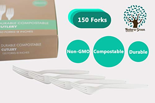 Natura Green- 100% Compostable Large Forks (8 inches) - 150 units packed in a beautiful and convenient Tray. BPA & Toxin Free.