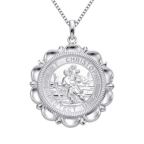 YL Jewelry Solid 925 Silver St Christopher Necklace Protector Talisman Round Laced Medallion Pendant, 18