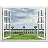 """wall26 Removable Wall Sticker/Wall Mural - Ancient Architecture of Ancient Railings. Old Castle Railings   Creative Window View Home Decor/Wall Decor - 36""""x48"""""""