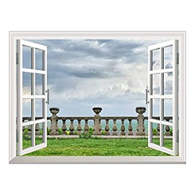 Removable Wall Sticker/Wall Mural - Ancient Architecture of Ancient Railings. Old Castle Railings | Creative Window View Home Decor/Wall Decor - 36