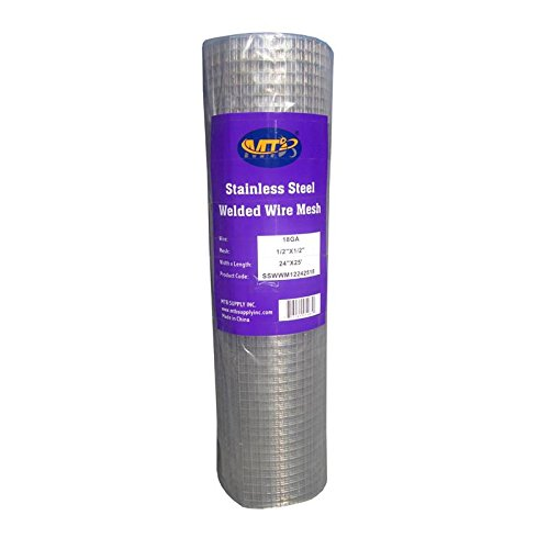 "MTB SS304 Stainless Steel Welded Wire Mesh 24"" x 25' - 1/2 inch x 1/2 inch (1.2mm) 18GA (Also Sold in 10' Length) - Ideal for High-Grade DIY Cages (Mesh Wire Steel)"