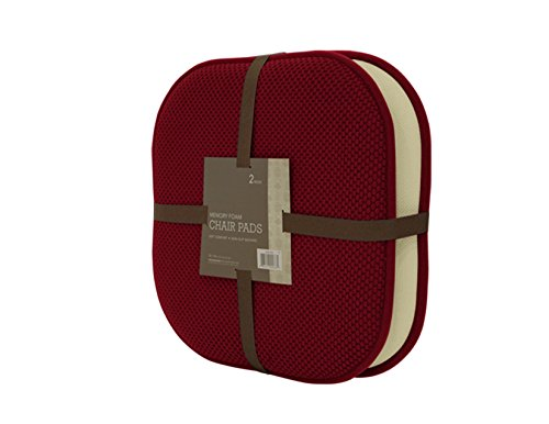 GoodGram 2 Pack Non Slip Ultra Comfort Memory Foam Chair Pads - Assorted Colors (Merlot)